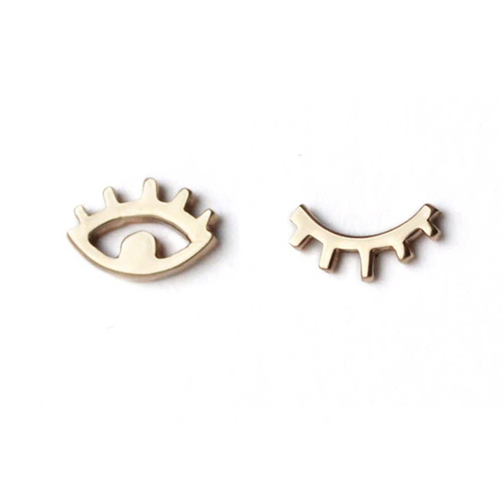 Eye + Winking Eye Studs - Full Pair Bronze