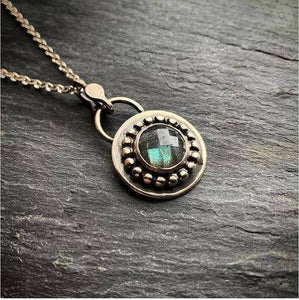 10mm Beaded Faceted Labradorite Pendant