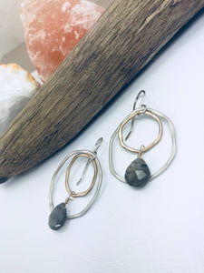 Hammered Silver & GF Labradorite Earrings