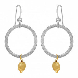 Two Tone Round Disk Earrings - Gold/Silver