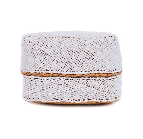 Beaded Bali Box in White