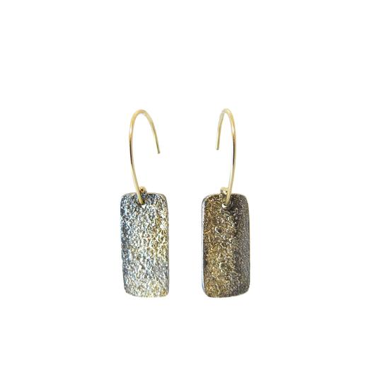 City Block Earrings - 18k Gold Fused with Oxidized SilverRecycled oxidize