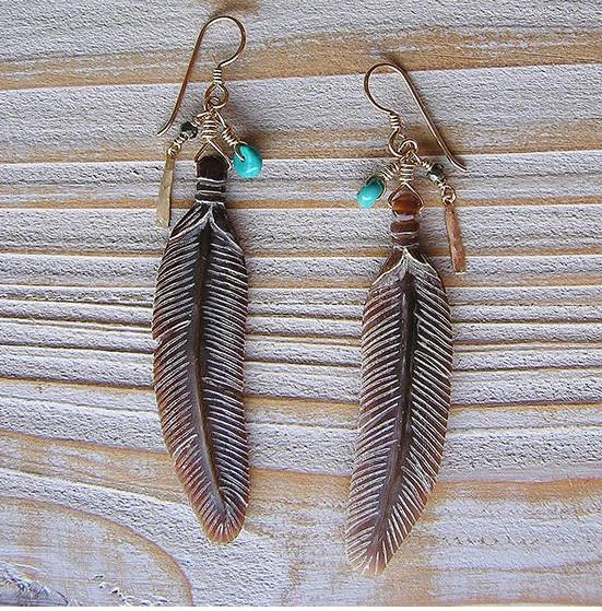 Floating Feather Earrings in Amber Horn