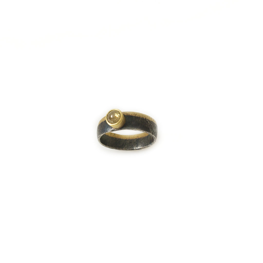 Oxidized Sterling Silver & 18k Gold Ring with Yellow Diamond