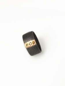 Oxidized Sterling Silver & 18k Gold Ring with Yellow Diamonds