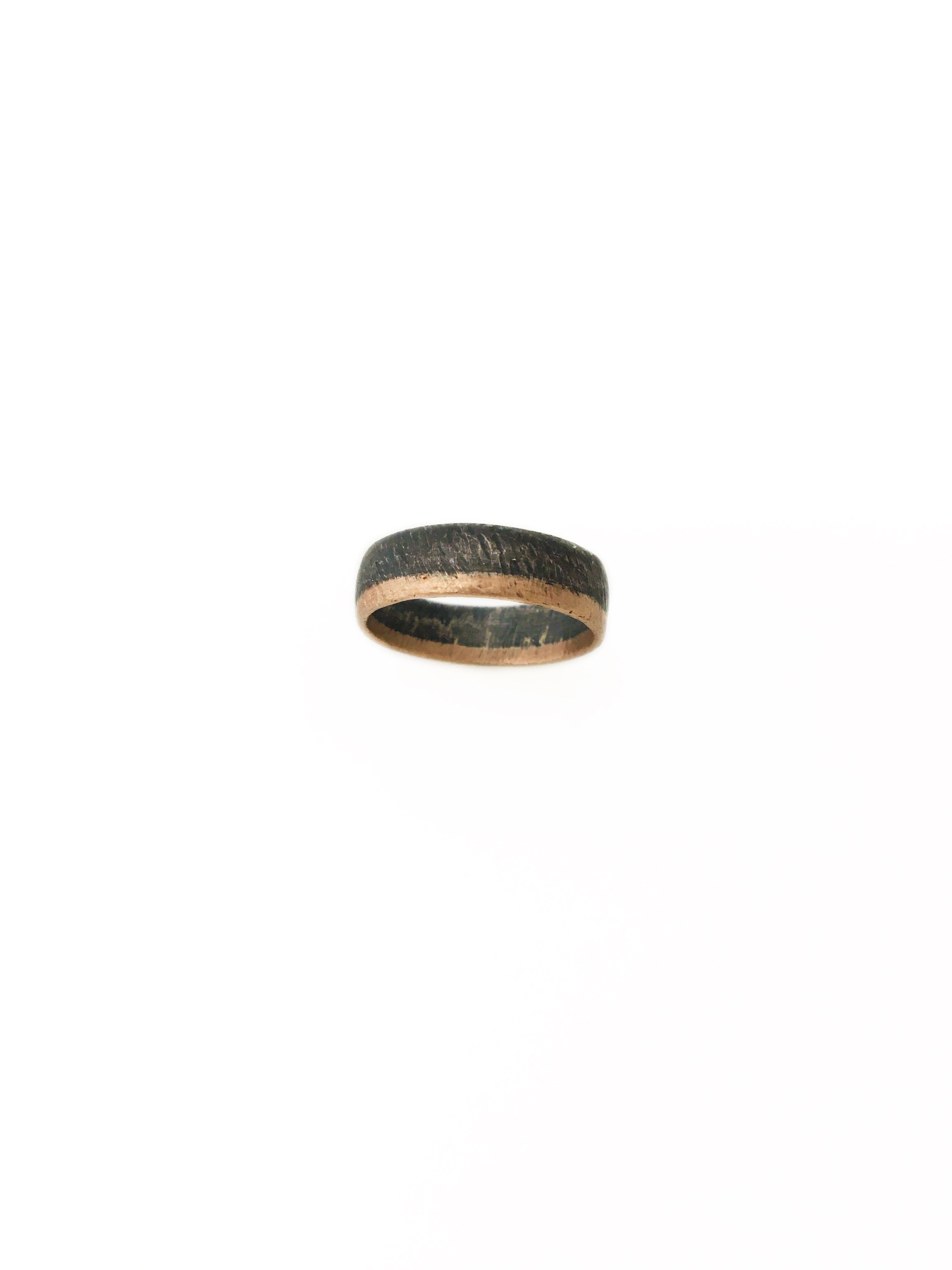 Oxidized Sterling Silver & Rose Gold Ring