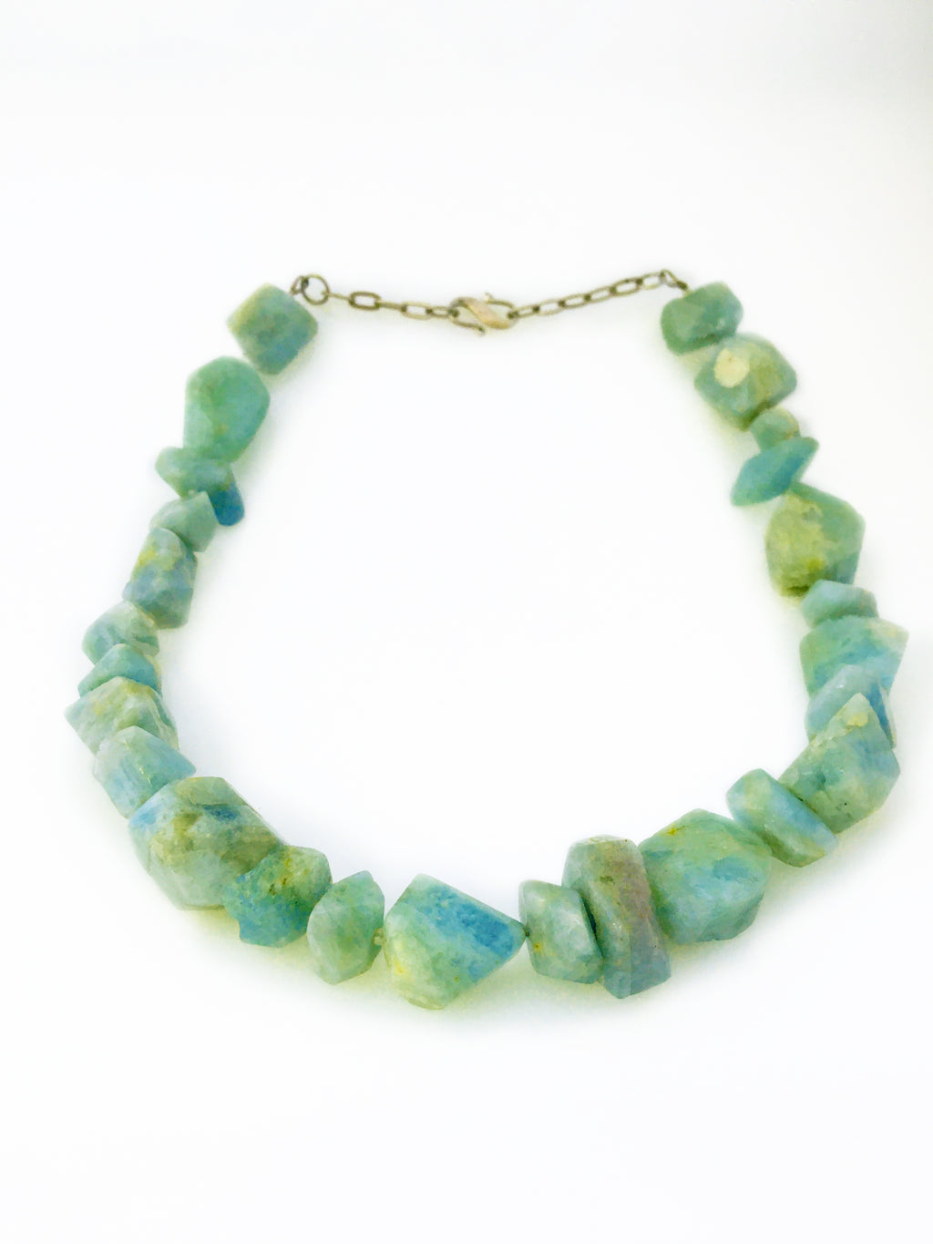 Raw Chunk Aquamarine & Sterling Silver Necklace