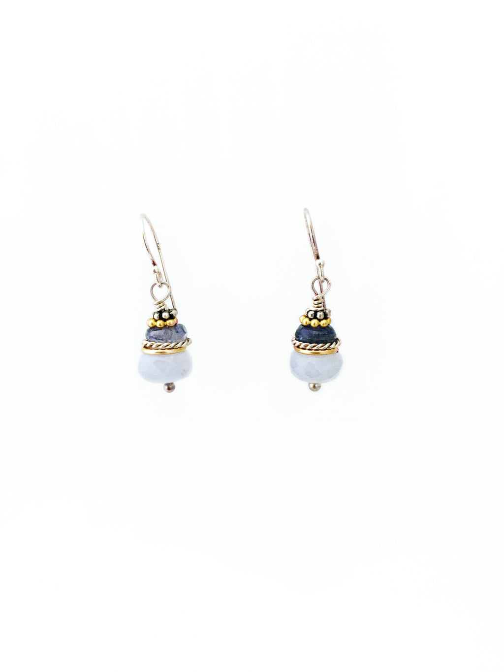 Chalcedony, Tanzanite, Gold Fill, Sterling Silver Earrings
