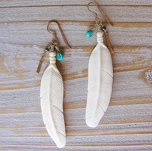 Floating Feather Earrings in Cow Bone