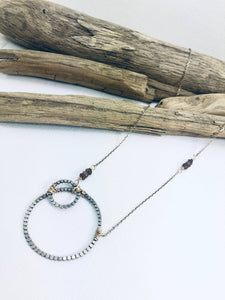 Circled Oxidized Sterling necklace w/ Gold filled Andelusite accents