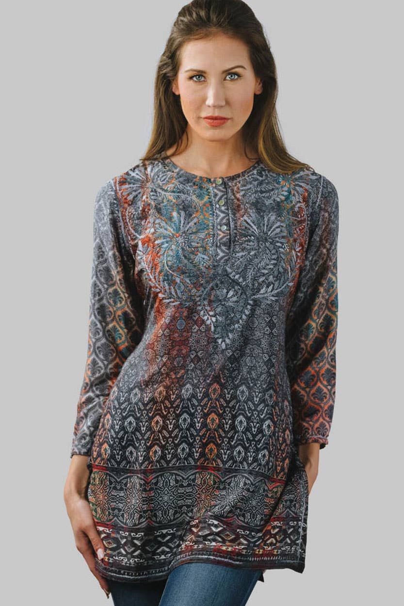 Deena Hand Embroidered Tunic- Steel