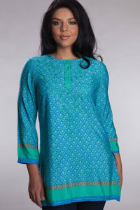 Deena Hand Embroidered Tunic- Turquoise