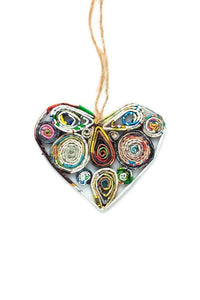 Recycled Paper Heart Ornament