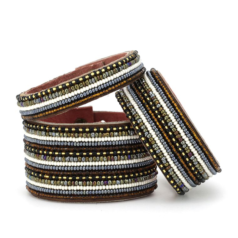 Stripes Neutral Beaded Leather Cuff - Small