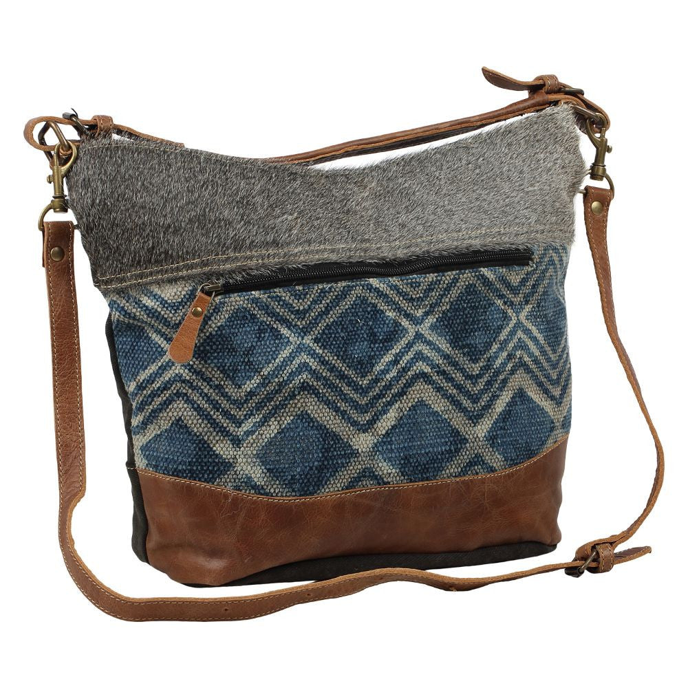 Mid Town Shoulder Bag- Upcycled Canvas & Cowhide Leather