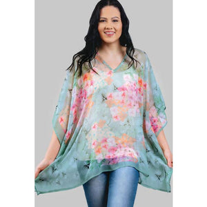 Kumari Cupro Georgette Top- sage & rose