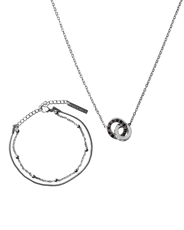 Dual Ring Necklace & Layered Bracelet Silber