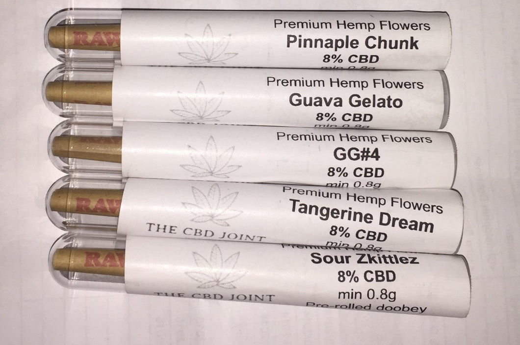 CBD HEMP PRE ROLLS (Pre-rolled Doobey) - 8% CBD - MIN 0.8g - VARIOUS FLVAOURS - THE CBD JOINT