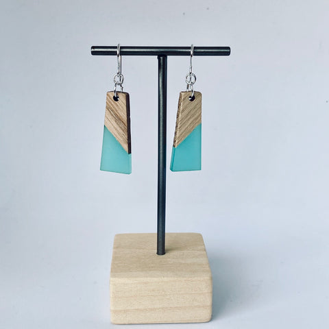 Turqoise Resin - Wood Drop Earrings