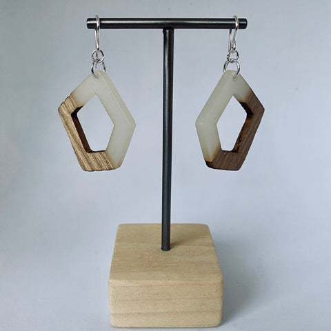 Clear Resin Wood Pentagon Drop Earrings