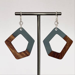 Pentagon Charcoal Resin-Wood Drop Earrings