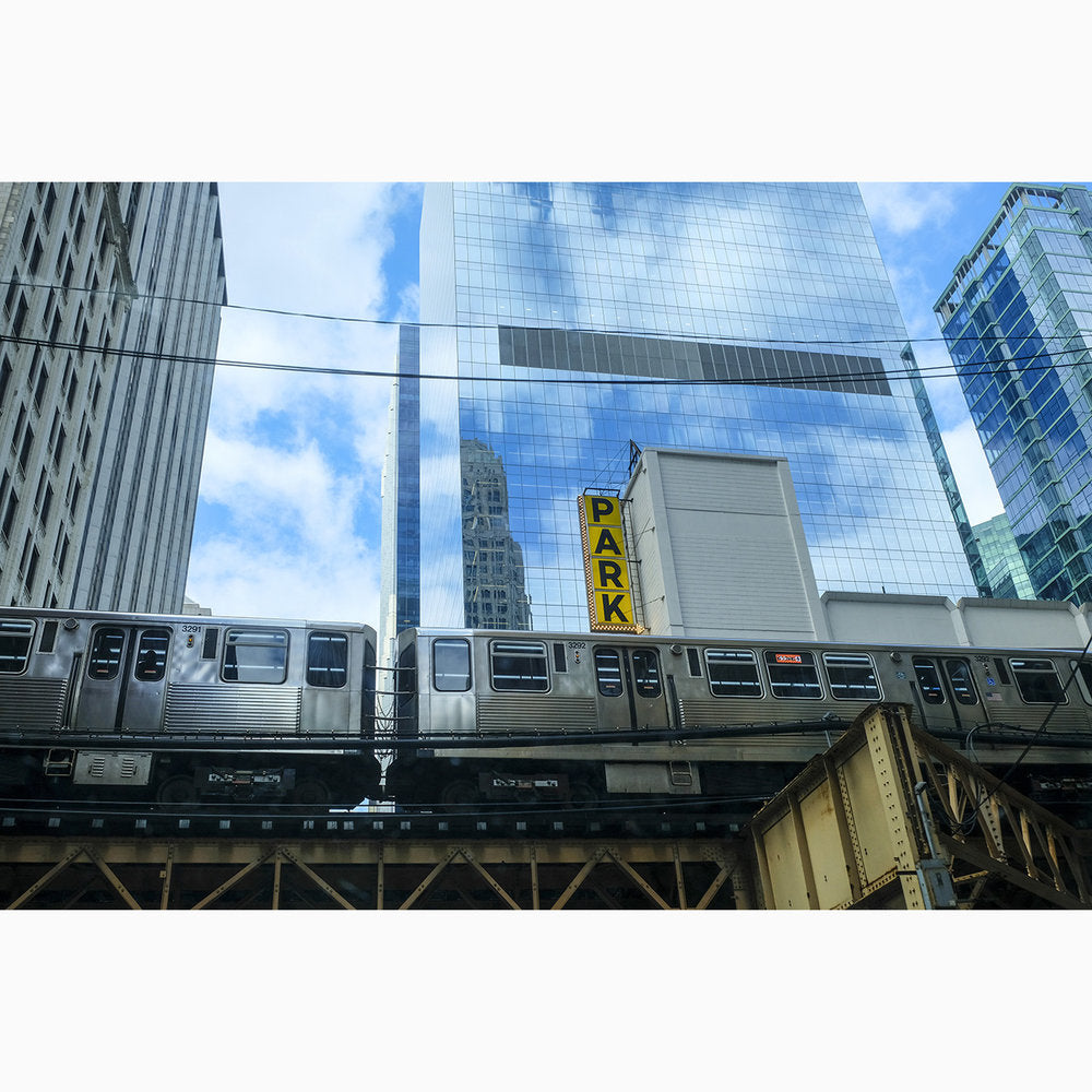 Metal Print - Chicago Train & Park Sign