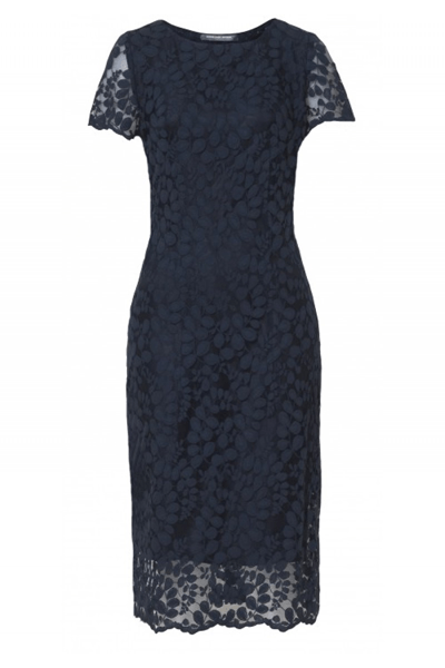 Big Leaf Lace Dress - Bøgelund-Jensen - Navy - Kjole - porteagauche