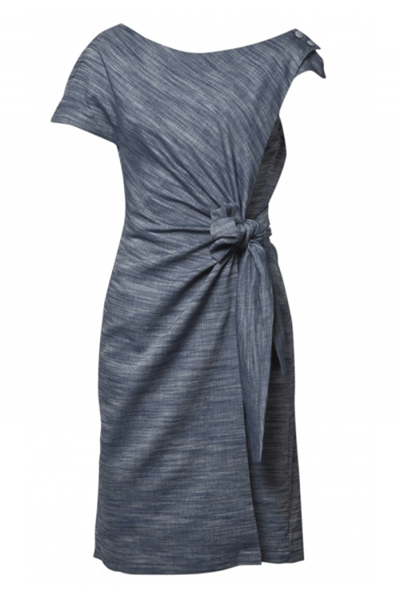 DRAPED AROUND ASSYMETRIC DRESS - BØGELUND-JENSEN - DENIM BLUE - Kjole - porteagauche