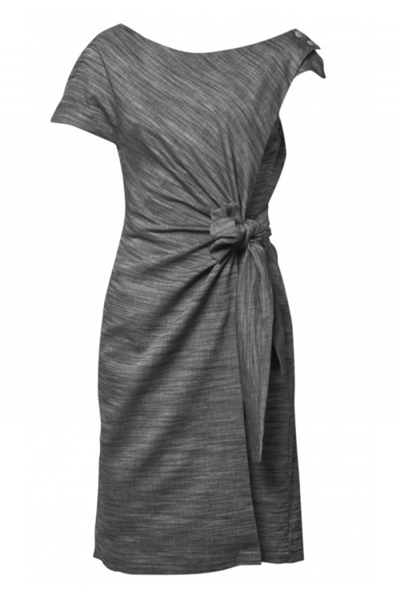 DRAPED AROUND ASSYMETRIC DRESS - BØGELUND-JENSEN - GREY - Kjole - porteagauche