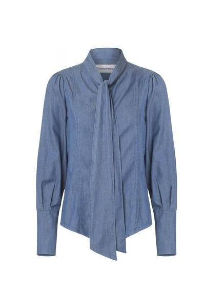 Hepburn Bow Denim Shirt - Tomorrow - Mid real Indigo - Skjorter - porteagauche