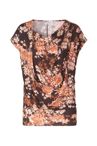 Johanne Rubinstein - Lene Top - Black / Rose Flower - Toppe - porteagauche