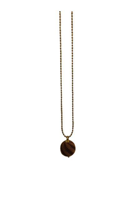 We love Jewellery - Necklace - Brown / Curry Stripes - - porteagauche