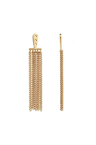 Stine A Jewelry - Dancing Chains Long Behind Ear- Earring - Gold - øreringe - porteagauche