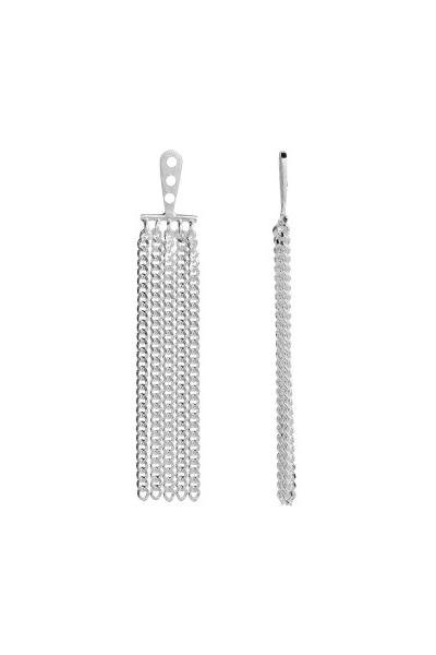 Stine A Jewelry - Dancing Chains Long Behind Ear- Earring - Silver1 - øreringe - porteagauche