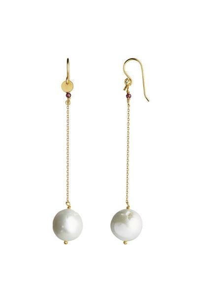 Stine A Jewelry - Dangling White Pearl With Long Chain Earring - øreringe - porteagauche