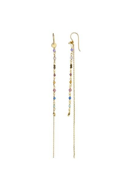 Stine A Jewelry - PETIT GEMSTONES WITH LONG CHAIN EARRING GOLD - BERRY MIX - øreringe - porteagauche