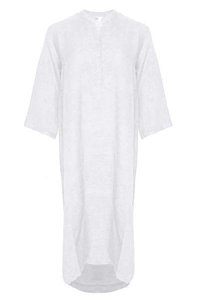 Tiffany -18970 X Long Shirt Dress Linen - White - Kjoler - porteagauche