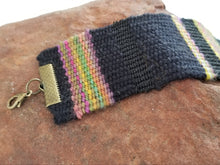 Load image into Gallery viewer, Black Rainbow Tapestry Cuff Bracelet