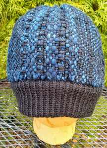 Woven Knit Hat, black & blue Wool Blend Beanie