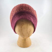Load image into Gallery viewer, Woven Knit Hat, Raspberry Merlot Wool Blend Beanie