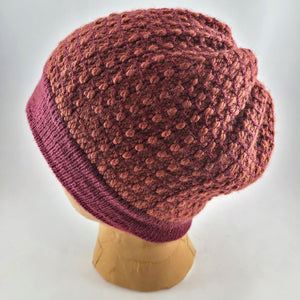Woven Knit Hat, Raspberry Merlot Wool Blend Beanie