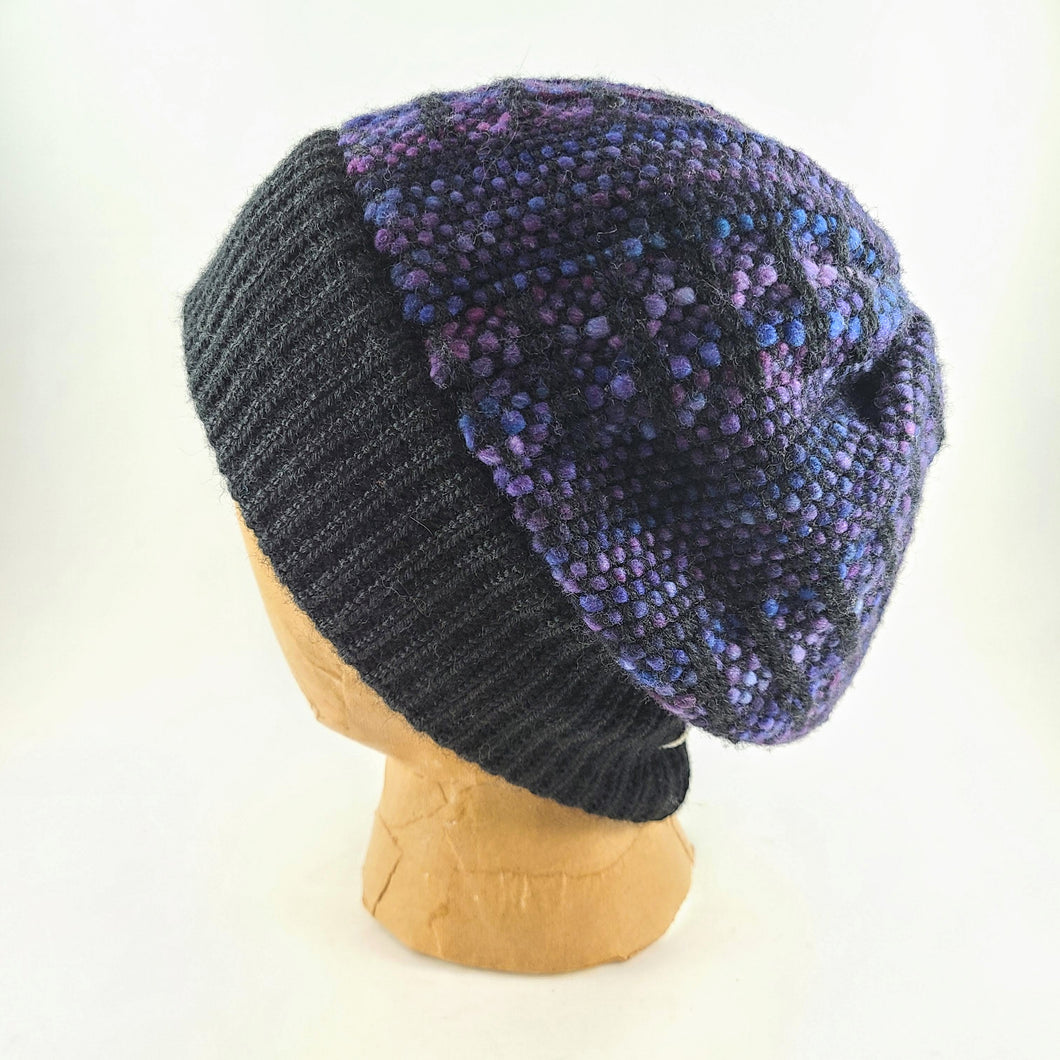 Woven Knit Hat, Black & Purple Beanie