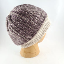 Load image into Gallery viewer, Woven Knit Hat, Ivory and Dusty Plum Wool Beanie