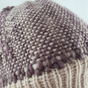 Woven Knit Hat, Ivory and Dusty Plum Wool Beanie