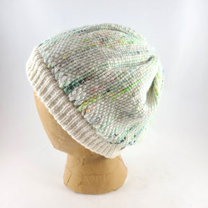 Woven Knit Hat, Ivory and Neon Cashmere Beanie