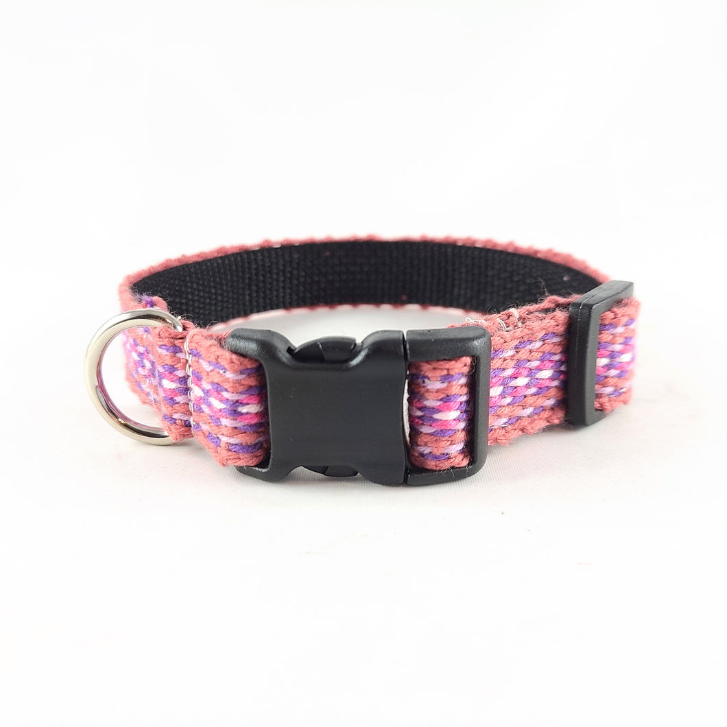 Woven Dog Collar, Pink, Small 10-13