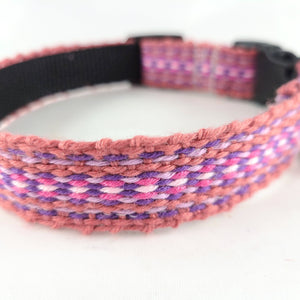 Woven Dog Collar, Pink, Small 10-13""