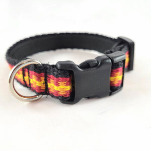 Woven Dog Collar, Red Yellow, Small / Medium