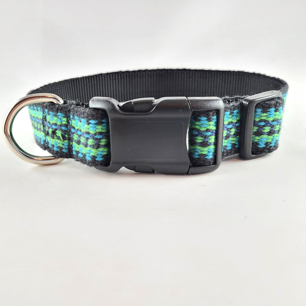 Wide Woven Dog Collar, Blue Green , Medium 14