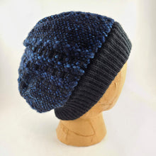 Load image into Gallery viewer, Woven knit hat, black & blues wool beanie